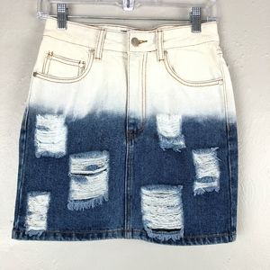 MINKPINK Distressed Bleached Dyed Denim Jean Skirt